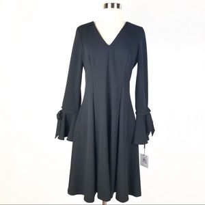CALVIN KLEIN v-neck tied bell sleeve dress 6 black